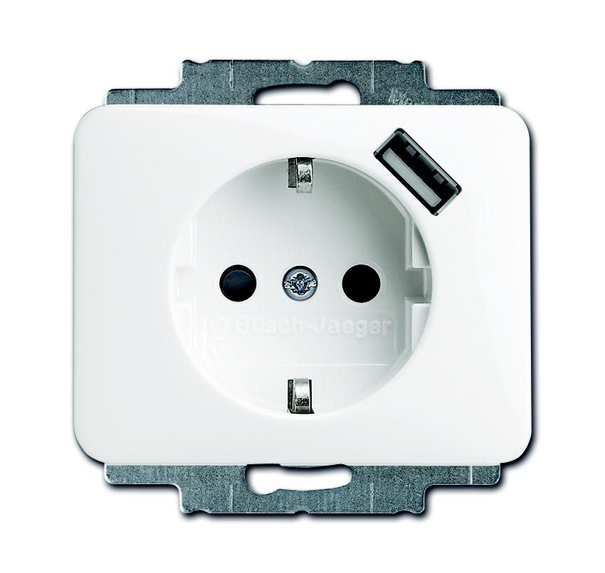 busch jaeger stopcontact met usb wit 91010 alpha 201106171. Black Bedroom Furniture Sets. Home Design Ideas
